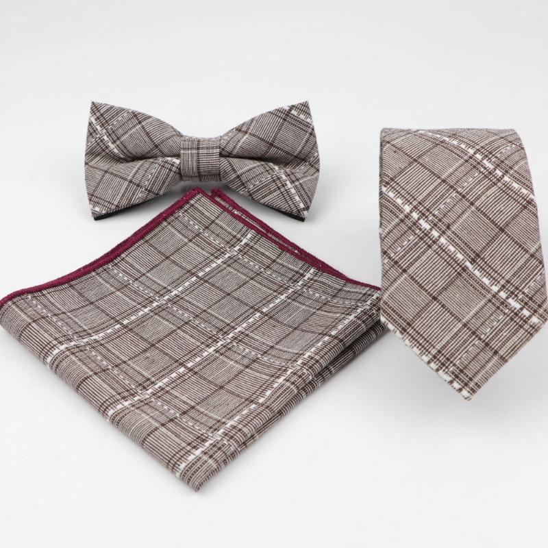 Gruesa para hombre del diseñador de la tela escocesa del bolsillo flaco cuadrados mariposa fijados lazos de pajarita del pañuelo corbata Porciones