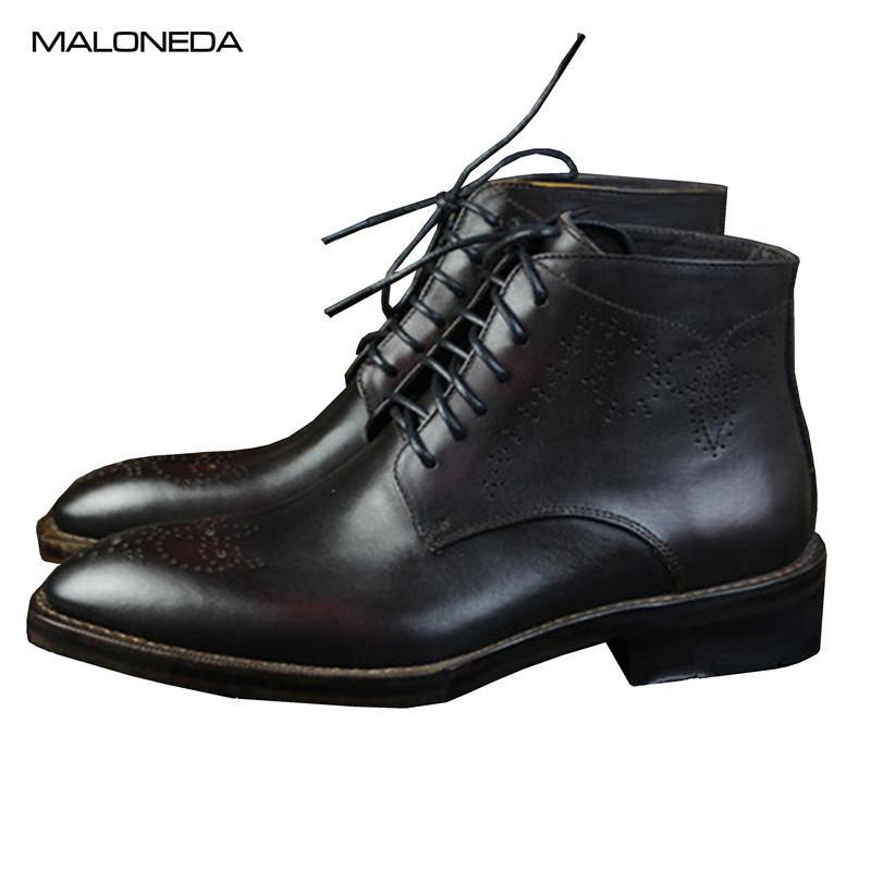 MALONEDE Retro Itália Estilo Handmade couro de vaca Derby Shoes Botas Lace Up Brogue Couro Curto Botas por Homem
