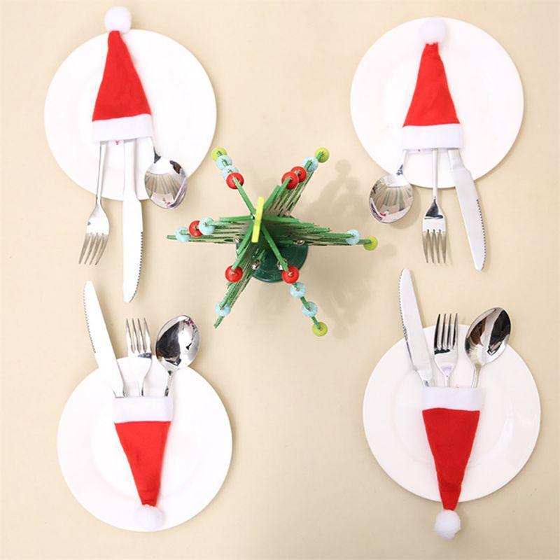 10PCS Posate Suit Argenteria titolari Pockets Coltelli Forks Borsa Cappello da Babbo Natale a forma di Natale festival del partito di Decorazione