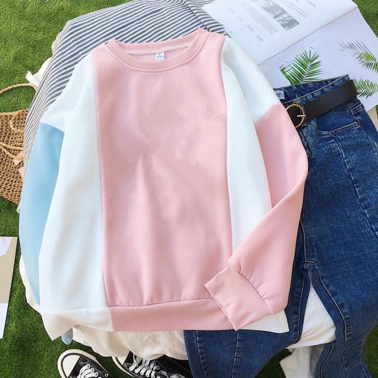 Kadınların Uzun kılıfı patchwork o-boyun mektup baskı sweatshirt CX200814