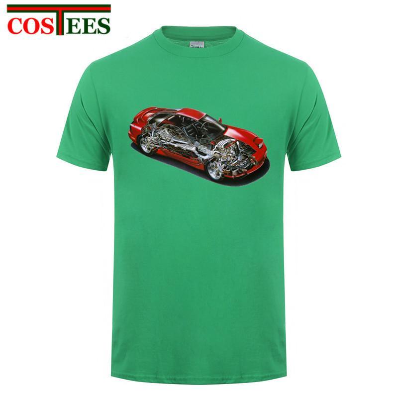 Japonya RX7 Tişörtlü Erkekler Komik Süper Araba İç diyagramı Tişört Kısa Kollu Yuvarlak Yaka Pamuk Özel Yarış Arabası Blueprint Tee Gömlek