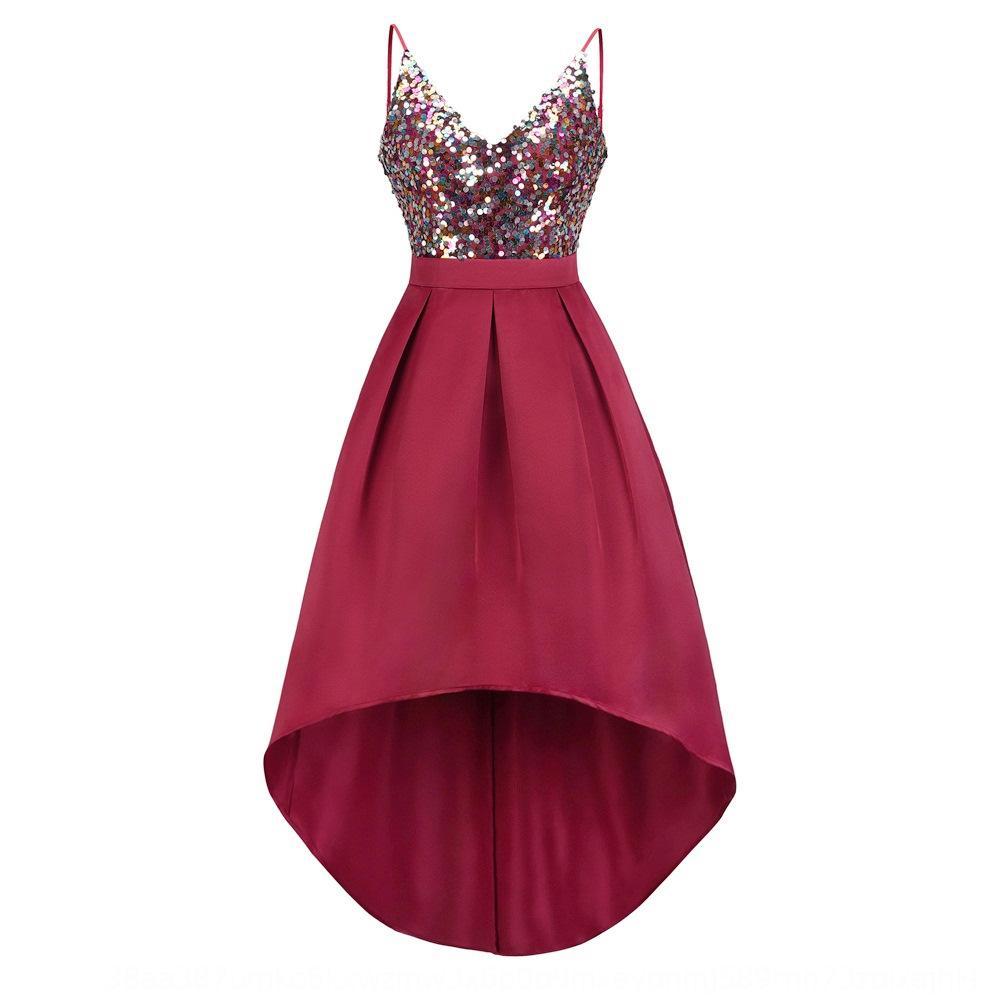 uaf4z 2020 ve akşam yeni kadın yazlık elbise bahar Tanelerin askı payet elbise npRnD saten