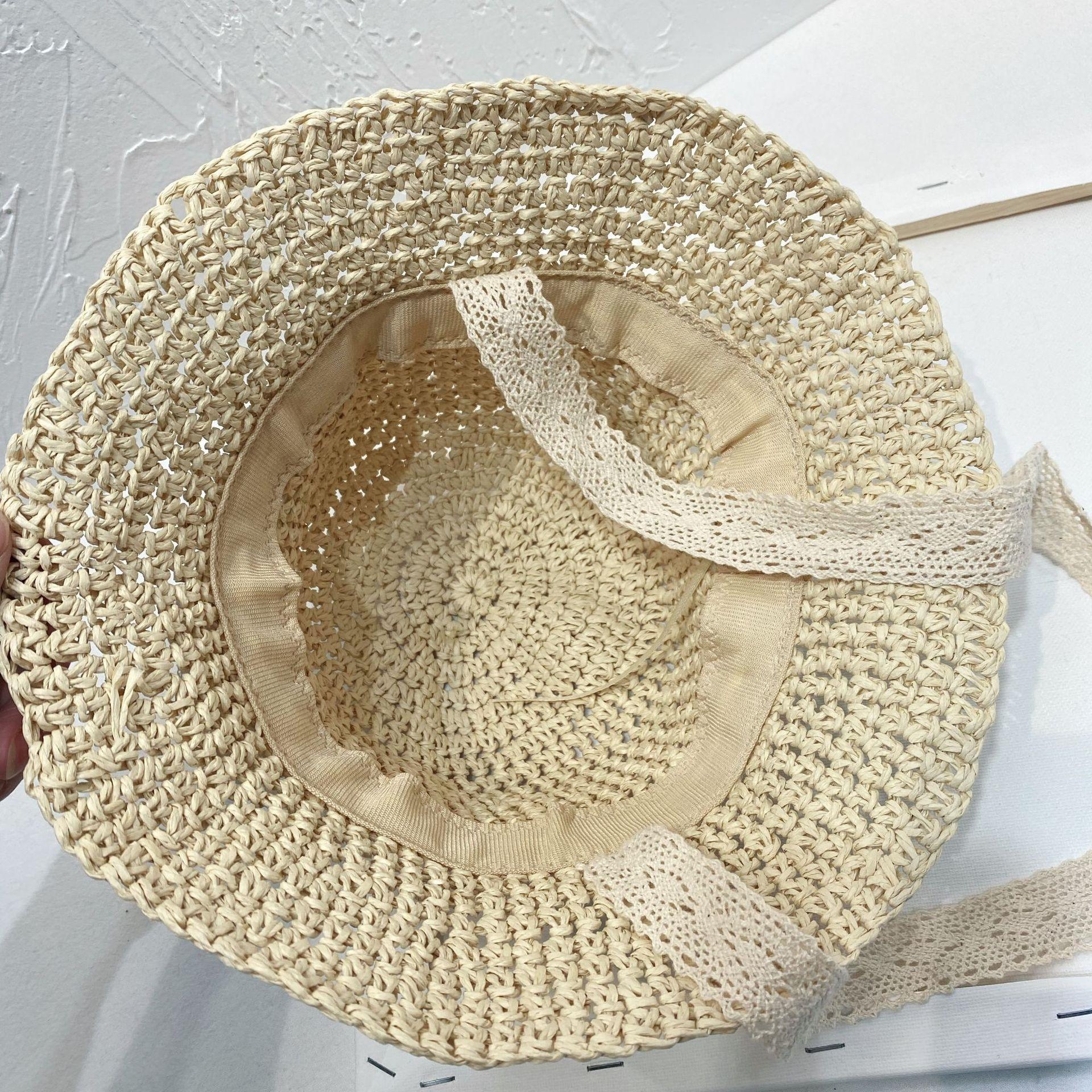 LsNsB Verão estilo bebê do sexo masculino e feminino palha artesanal da Coréia balde pescador palha balde su Daisy pescador chapéu de praia guarda-sol infantil