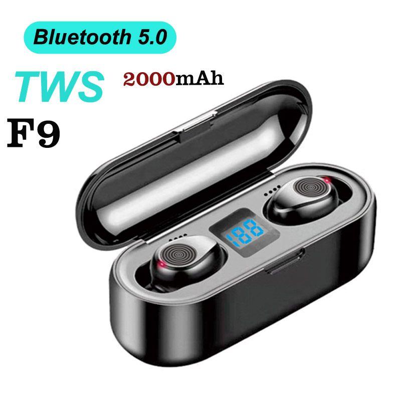 Fashion Wireless Earphone Bluetooth V5.0 F9 TWS waterproof Bluetooth Headphone LED Display With 2000mAh Power Bank Headset With Microphon
