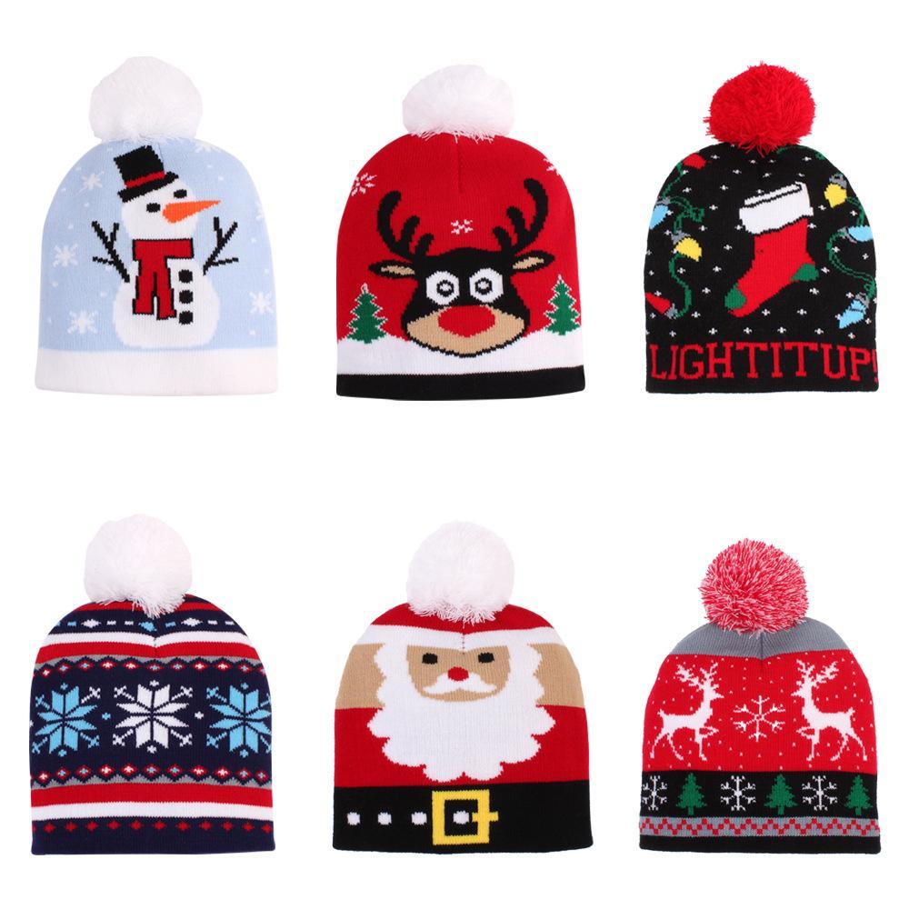 bébé à tricoter chapeau de laine chapeau de Noël chaud enfants hiver enfants dessin animé chapeau de boule de fourrure chapeaux tricotés en plein air parti cadeau faveur FFA4396