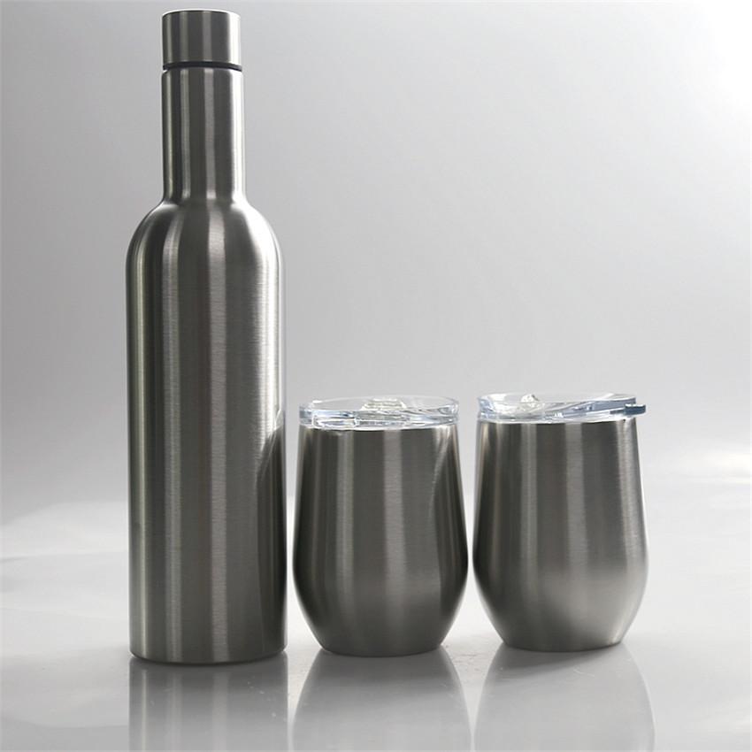Aço 750ml Vinho Tumbler Set Stainless Double Wall Tumbler do vácuo garrafa de vinho de vidro isolamento de água Caneca Package Duty Free A02