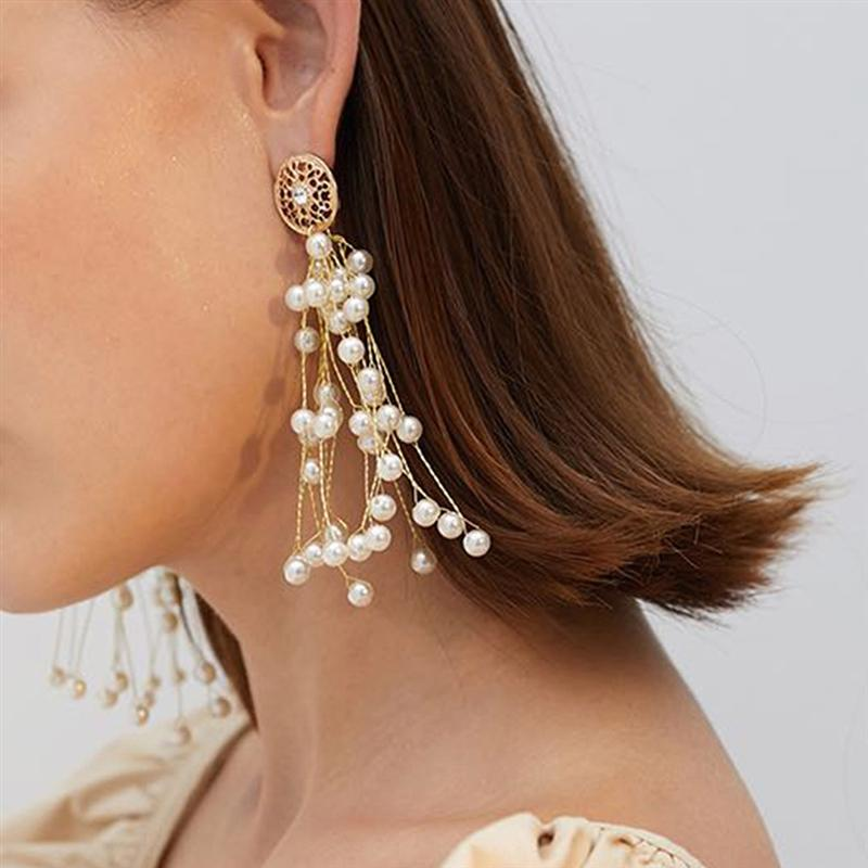 TZNYF E8367 Japanisch und Perle und earringsKorean neue Fee elegante schöne Perlenohrringe der koreanischen Art und weise lange Quaste Ohrringe für w