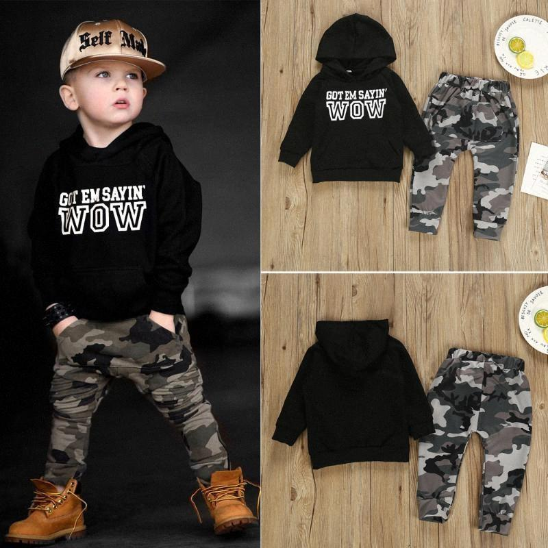 2020 2020 Jugendliche Baby Boy Letters Kapuzentops Sweatshirt Camouflage-Hosen Outfits Herbst Kleidung pdgr #