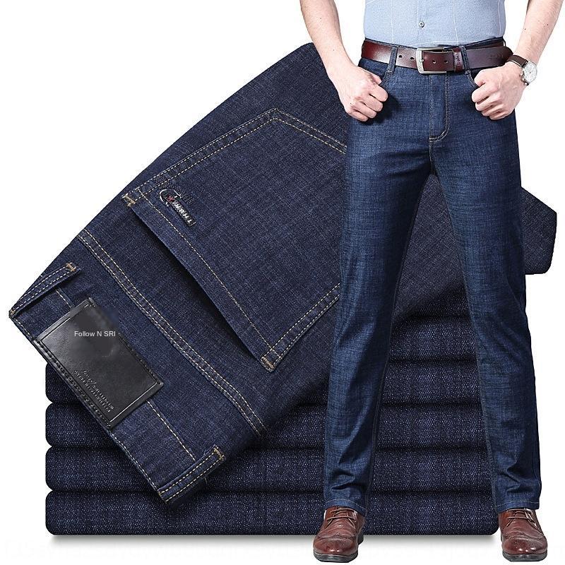 Мужские джинсы свободные прямые брюки летние упругие тонкие среднего возраста случайные брюки тонкий бизнес случайный джинсы