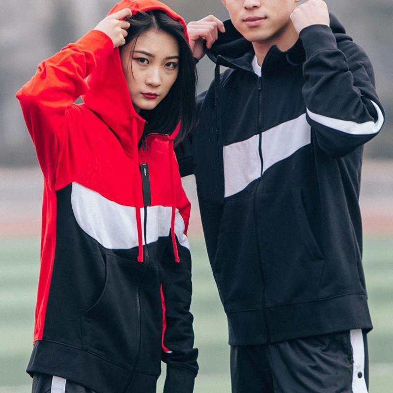 الرجال هوديس الستر وبلوزات أزياء الخريف الرجال الرياضة سترة واقية المرقعة زيبر معاطف عارضة ملابس خارجية نشطة الستر الأحمر 4XL