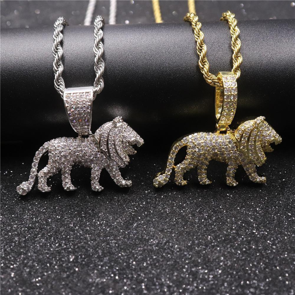 Hip Hop Полного CZ мощеного Bling Iced Out Мужского лев животные Подвеска ожерелье для мужчин Рэпера ювелирного изделий золота серебра