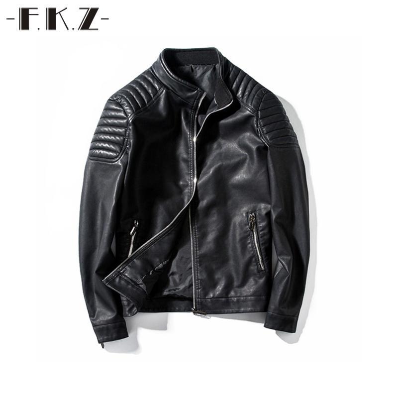 Giacca in pelle FKZ nuovi uomini autunno solido colori cerniera Casual Motocicletta modo maschio freddo basamento nero tuta sportiva del cappotto GNT801