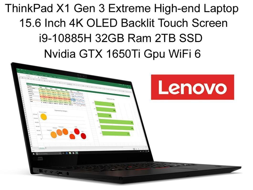 Верхушка Lenovo ноутбук ThinkPad X1 GEN 3 HERMIT 2020 с I9-10885H 5,3 ГГц 32 ГБ RAM 2TB SSD 15,6 дюйма 4K Touch GTX 1650TI GDDR6