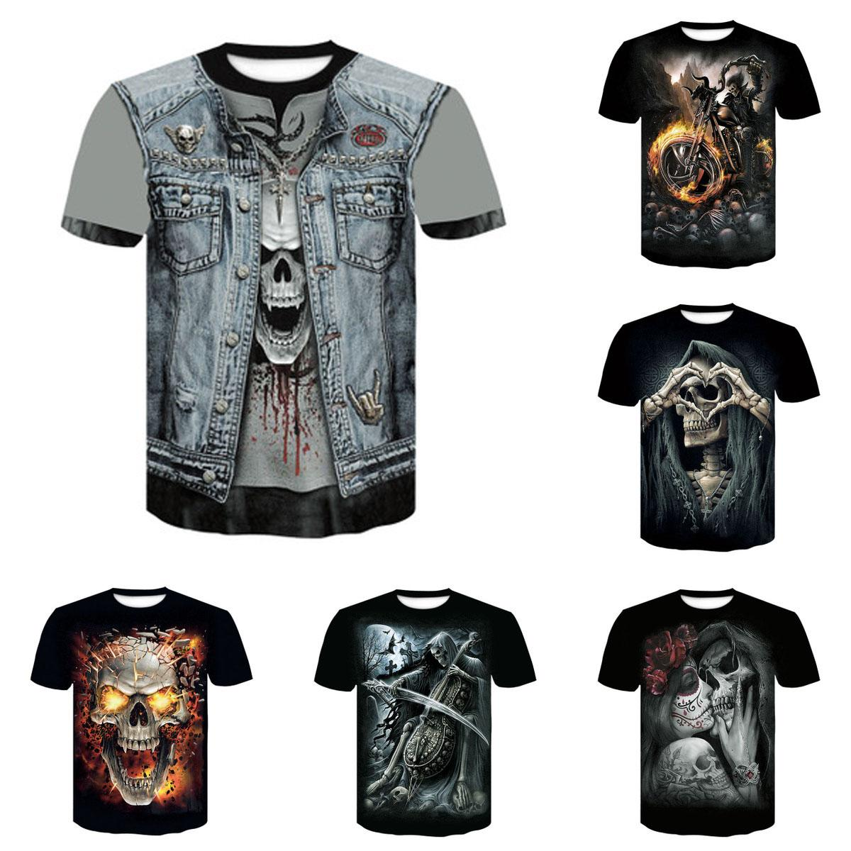 Mens Skull T Shirt 2020 New Ghost Pattern Tees Fashion Boys Streetwear Trendy Printing Boys Tees for Wholesale Top Quality DIY Clothes