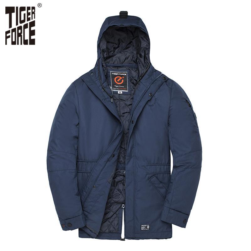 Cappotti TIGER FORCE uomini s cotone imbottito s primavera cappotto incappucciato impermeabile Windbreaker Uomo