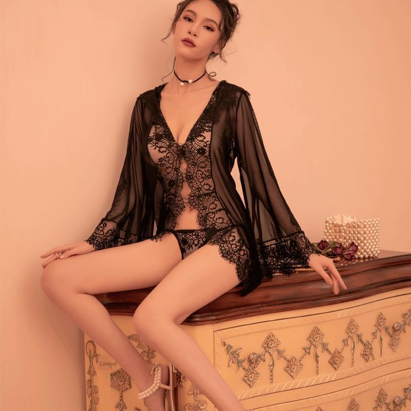 KIpAI Baihua angelo di pizzo di maglia tentazione cinghia cuciture Biancheria intima di pizzo 7303 pigiami biancheria intima sexy pigiama tuta sexy
