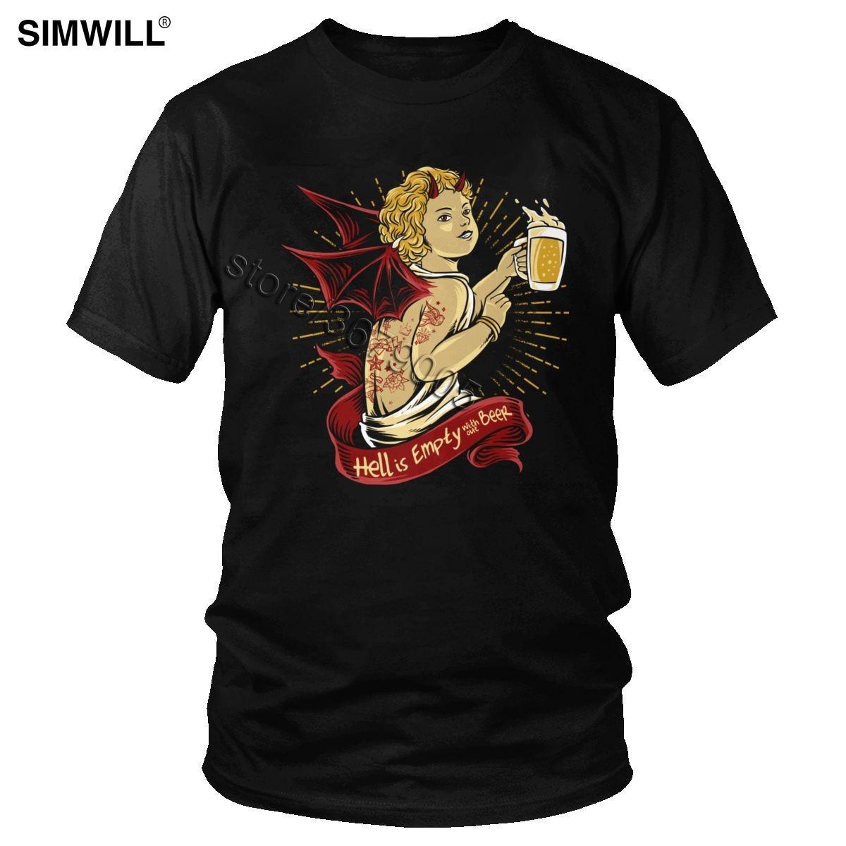 Witzige Männer-Gefallene Devill Hölle ist leer ohne Bier-T-Shirt Street Humor Dämon Satan Getränk-T-Shirt mit kurzen Ärmeln Baumwolle T