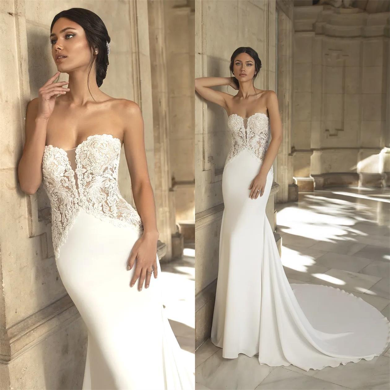 New Designer Vestidos de noiva sereia com destacável Train Bohemian vestido de casamento Lace Appliqued Plus Size Bridal Vestidos De Novia