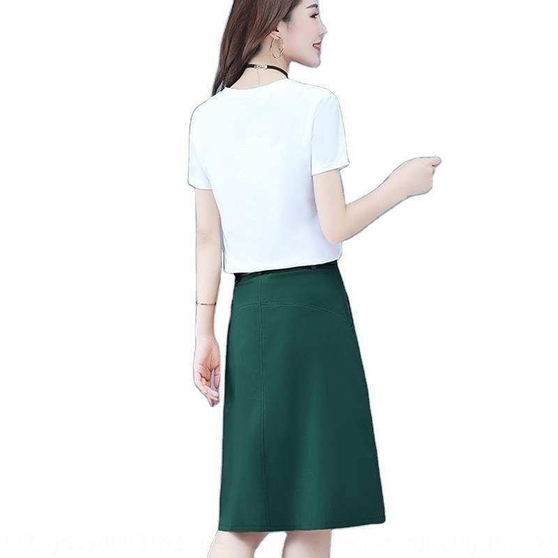 curto da Iixws populares emagrecimento mulheres com vestido vestido petite 2020 verão terno novo de duas peças