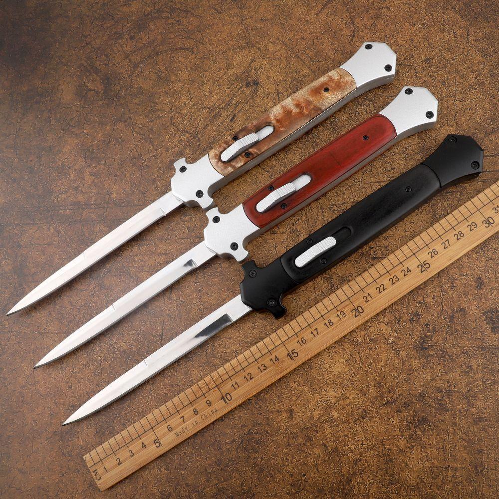 새로운 13 인치 이탈리아어 마피아 440C 단일 예리 알루미늄 합금 헤드 + 나무 손잡이 사냥 자기 방어 전술 자동 칼