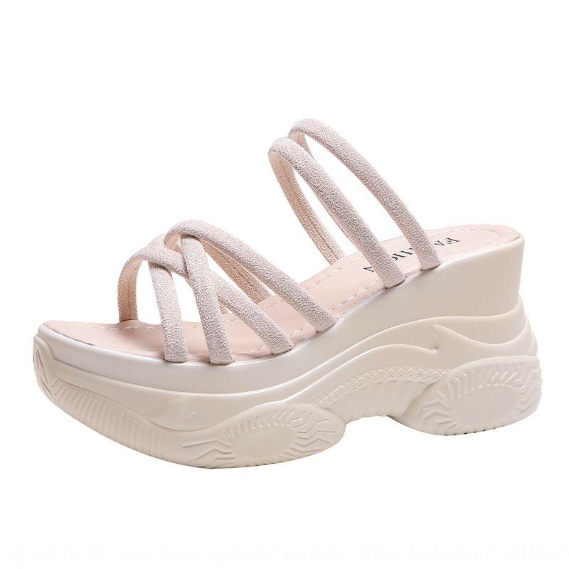 2020 Летняя новый клин сандалии женских онлайн красной толстая нижняя высоты увеличивающегося все-матч феи стиль студента туфли на высоких каблуках сандалии и