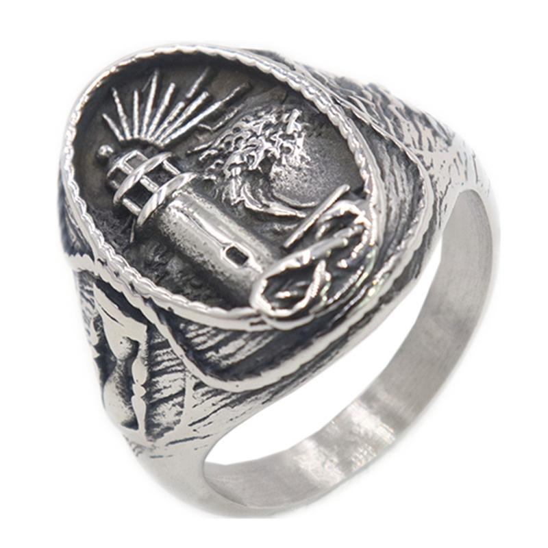 Loredana high quality solid titanium steel Legend of the Punk Viking Bright Lighthouse ring for men creative exquisite jewelry
