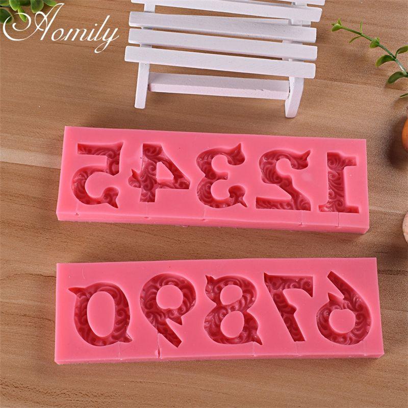 Aomily 0-9 Tema 3D número de la pasta de azúcar del molde del silicón de la herramienta del arte del azúcar torta de la vela del chocolate del molde para hornear de la cocina DIY