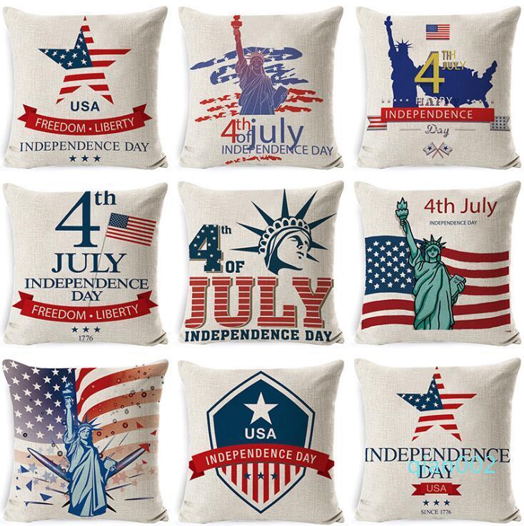 DHL 4 luglio decorativo tiro caso o un'immagine della bandiera americana della cassa del cuscino della decorazione della casa Biancheria del sofà 45 * 45cm