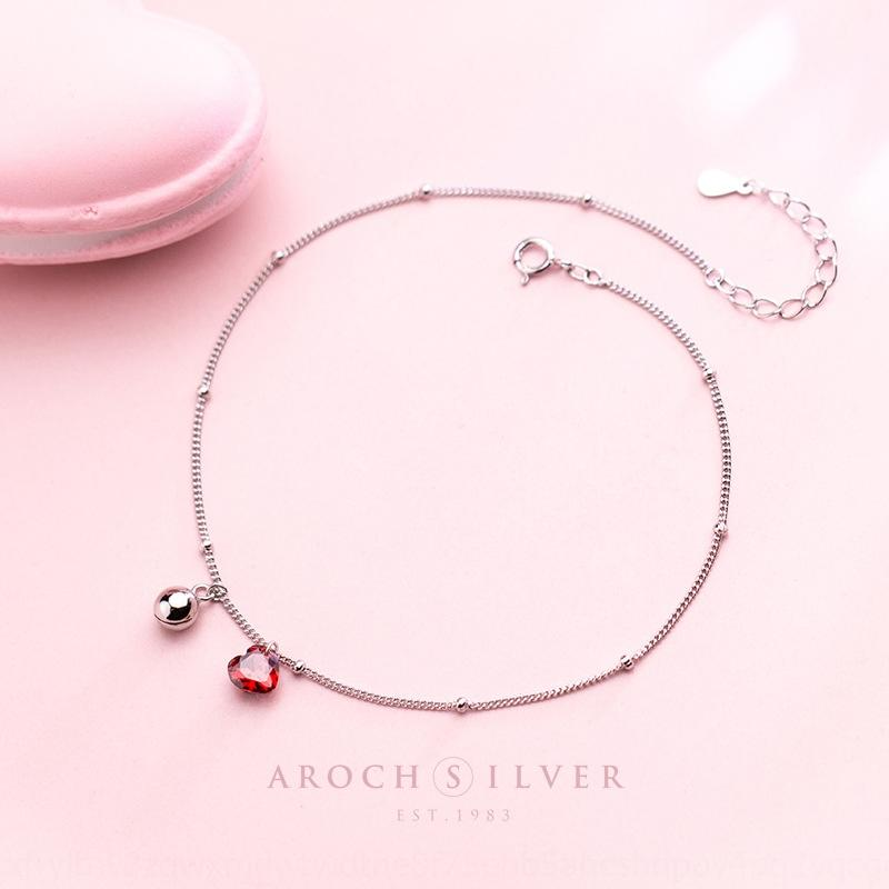 S925 silber weibliche Korean Bell Diamant-Stil hipster roter Diamant Lieber nette Glocke Fußkettchen Temperament Fußkettchen weiblich S2547