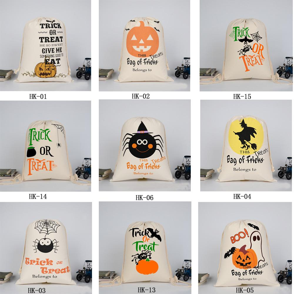 Lona de Halloween Sants caramelo bolsa grande bolsas de cordón regalo saco calabaza impreso para Todos los Santos Decoración de Navidad