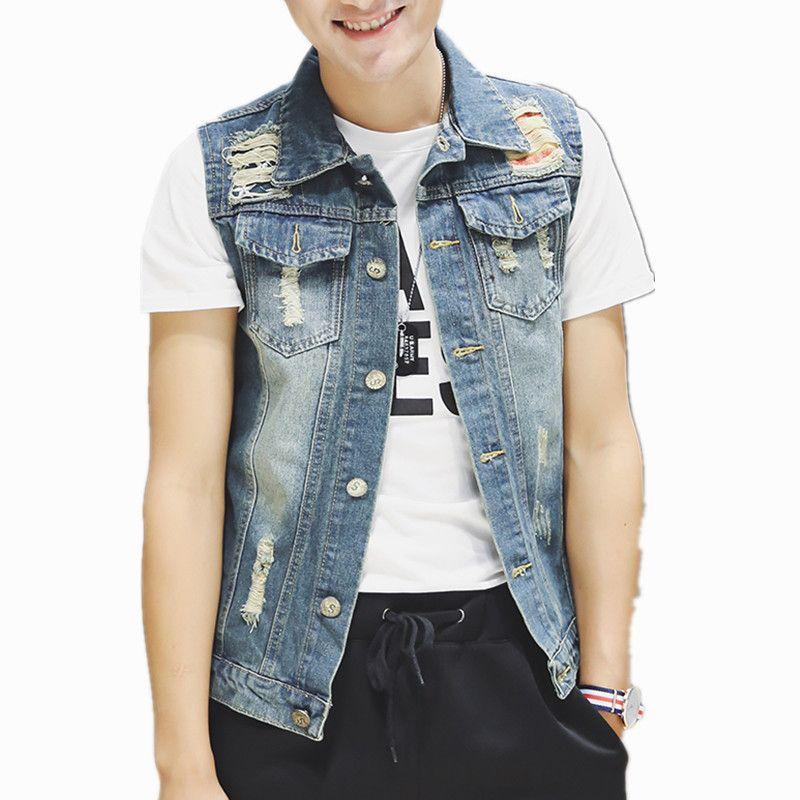 Homens de Design New Vintage Denim Vest Masculino Slim Fit casacos sem manga Homens Buraco Jeans Colete Plus Size S-5XL