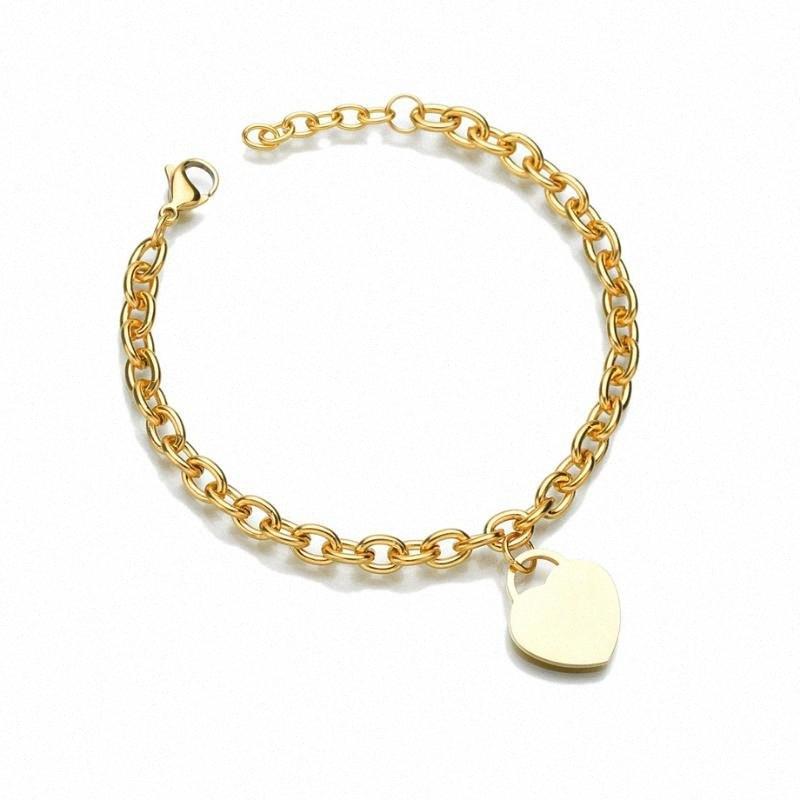 Casais Amor Pulseira Coração Pulseira Moda Cor de ouro charme de aço inoxidável pulseiras para Mulheres Jóias braclets 2019 Atacado YZjY #