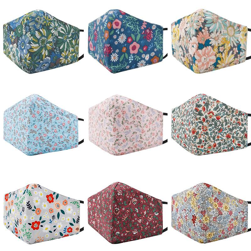 9 colors pure cotton printing face mask dust-proof Anti-haze PM 2.5 Breathable washable adjustable Protective mask
