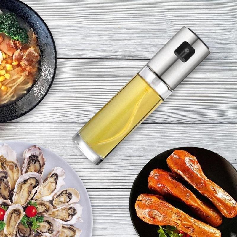 Стекло Olive Распылитель Нефть кухни Spray Bottle насос из нержавеющей стали течебезопасн капли нефти Диспенсер для барбекю Готовим инструменты n9PR #
