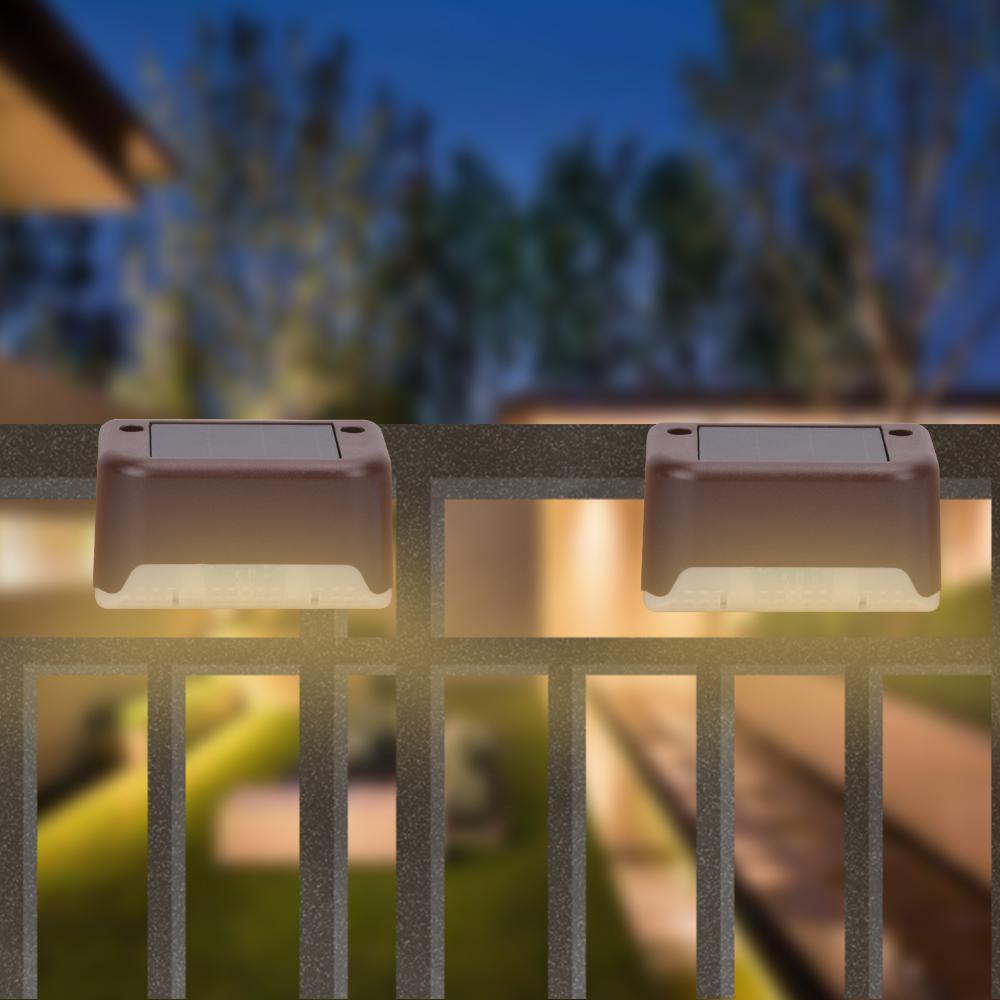 4X Brown principale solare illuminazione esterna di recinzione 200MAH Batteria impermeabile IP65 Smart Control Luce esterna Luce 1.2V 0.2W luce bianca calda