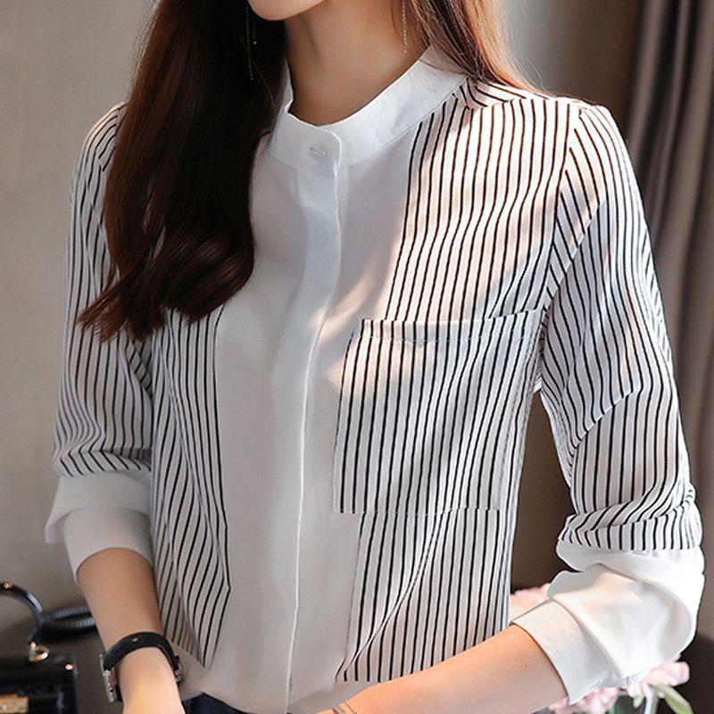 chemisiers chemises à longues manches femmes blouse femmes blusas mujer de moda 2020 chemise blouse en mousseline de soie rayée noir en tête blusa D431