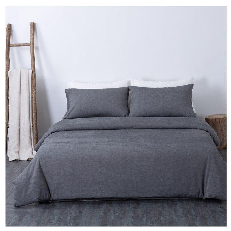 Yatak Seti Pamuk Katı Renk Basit King Size Modern Nevresim Kraliçe Çift Tek yumuşak gri Düz Sheet donatılmış ayarlar