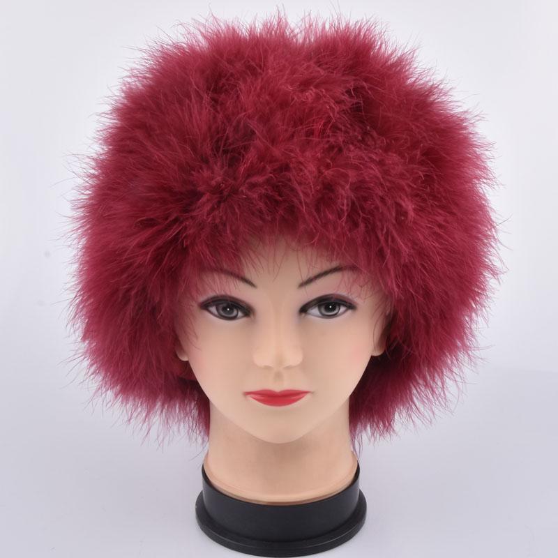 Cap Fur Mulheres Winter Genuine Ostrich Feather Turquia peles Hat Multicolor Turquia Gorros Hat Full alinhado peso leve