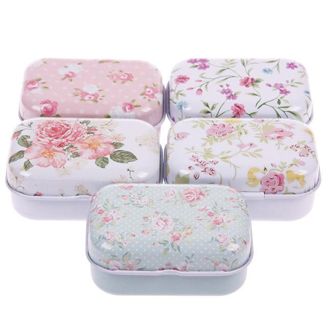 Accueil Boîtes Bins 1Pc Mignon petit format boîte de rangement en métal Mini Tin Bijoux Boîte de rangement Zakka fille faveur des ménages
