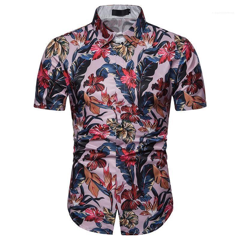 Manga Curta Camisas Casual Hombres Tamanho da UE cobre T Mens Praia florais shirts Verão
