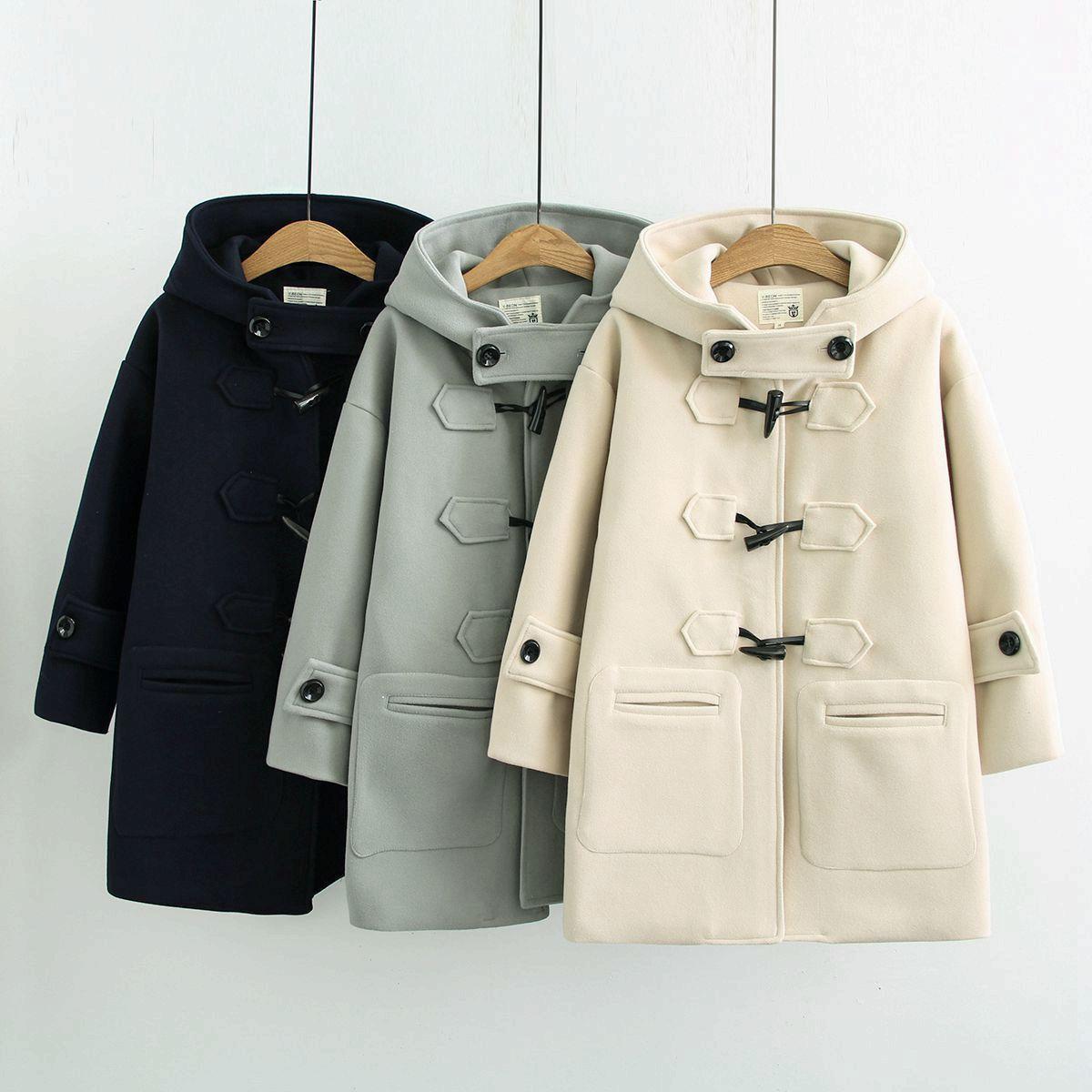 Cow fivelas chifre casacos mulheres outono e inverno longo casaco de lã estudante com capuz casaco pequeno T200831