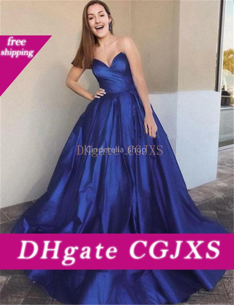 Простой Royal Blue Милая Длинные платья выпускного вечера без рукавов -Line Выпускной вечер мантий Дешевые сшитое 2019 Robe De Soir Ee