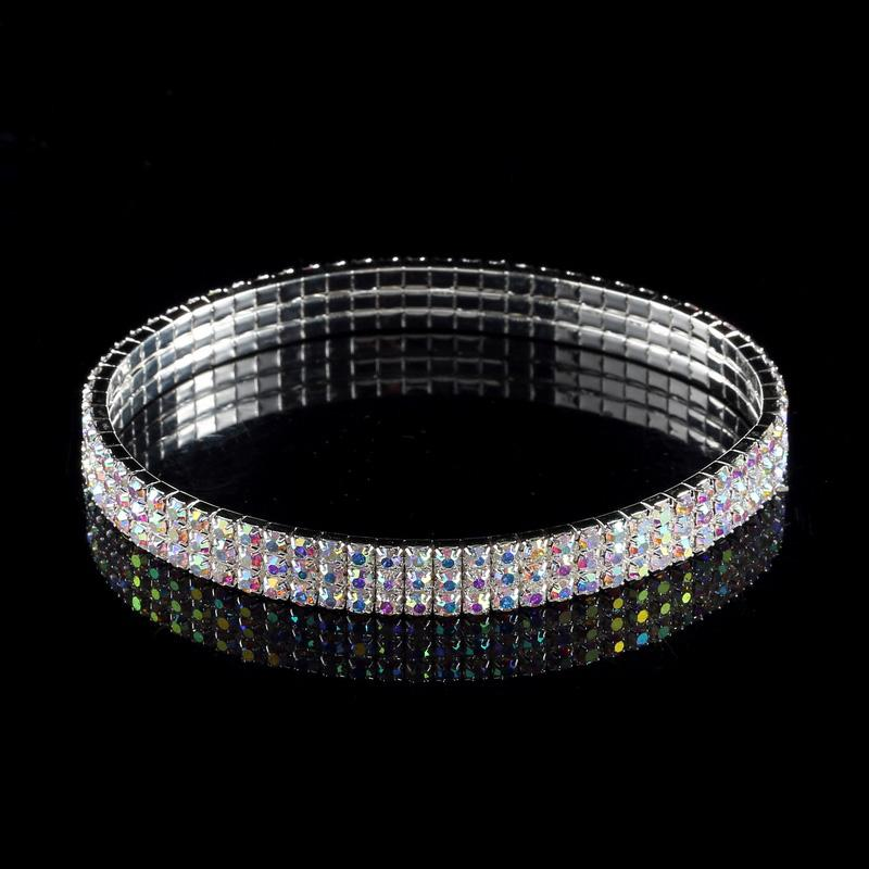 3-Row Three Row Anklets Sparkly Crystal Rhinestone Stretch Cz Tennis Ankle Chain Sexy Anklet Bridal Wedding Accessories for Woman