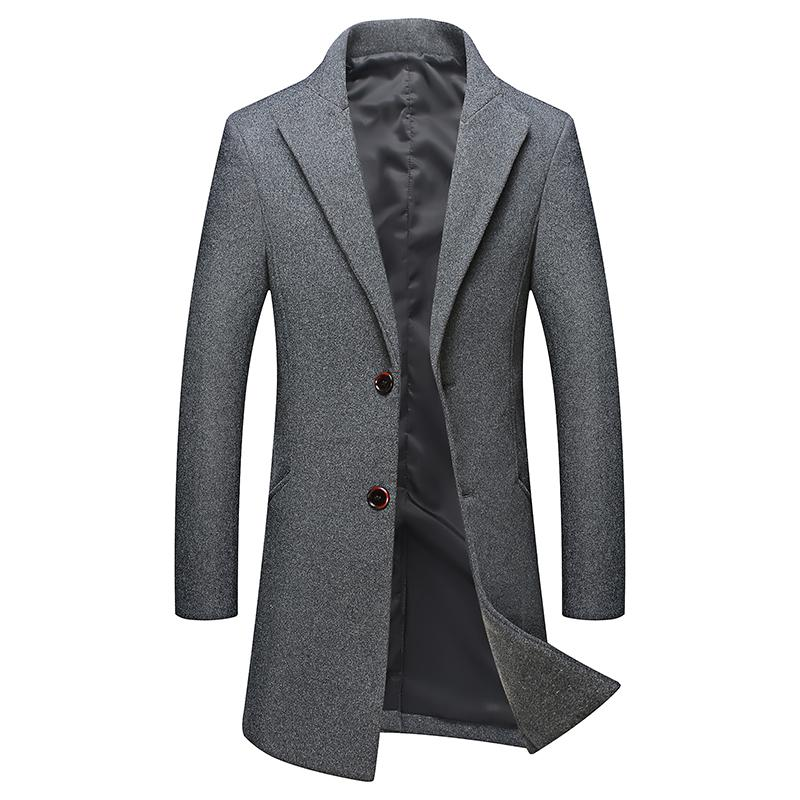 otoño de los hombres y gabardina de lana casual de negocios de color sólido a largo invierno / 2020 abrigo de mezclas boutique de moda caliente M-4XL