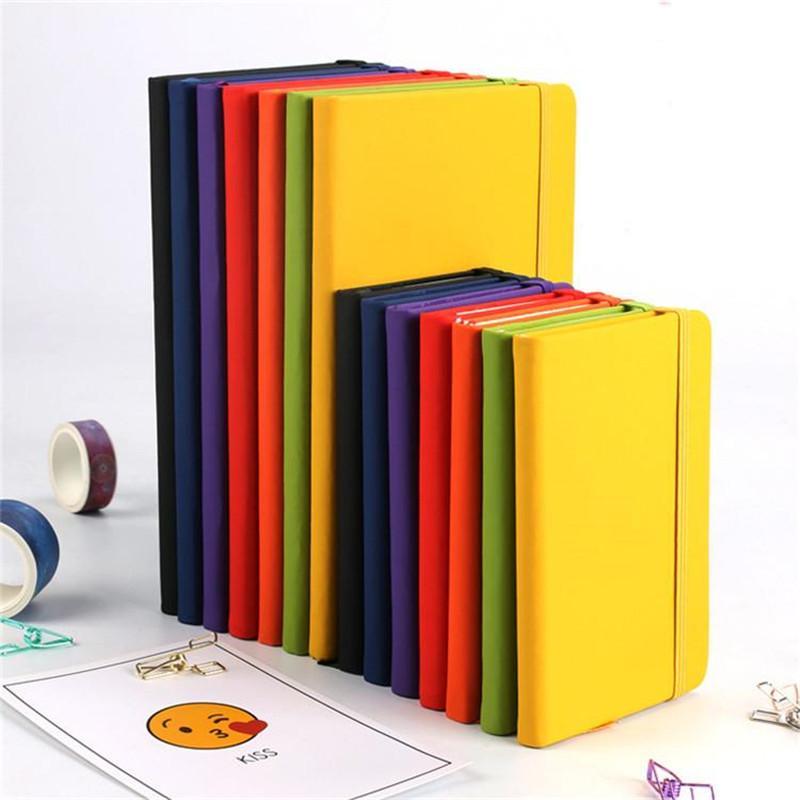 7 ألوان A5 غلاف فني دفتر بو الجلود الكلاسيكية مدرسة مذكرات مكتب رقم تسجيل مكتب الأعمال مع إغلاق مرن النطاقات