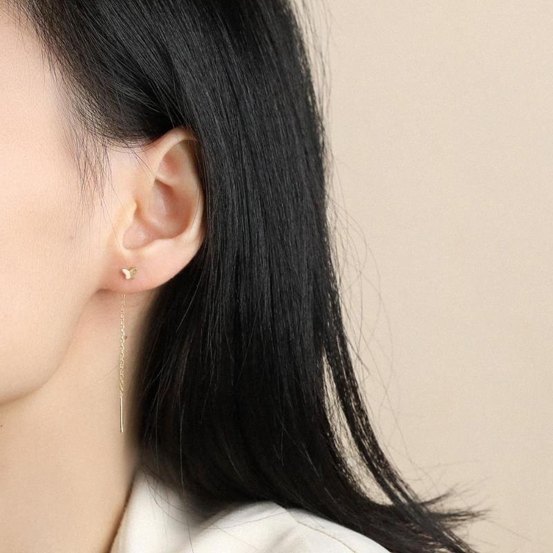Oreille Papillon mignon ligne longue chaîne Hanging Enfile Boucles d'oreilles en argent sterling Tassel Dangle Boucles d'oreilles pour Bijoux Femmes Mode 0gxA #