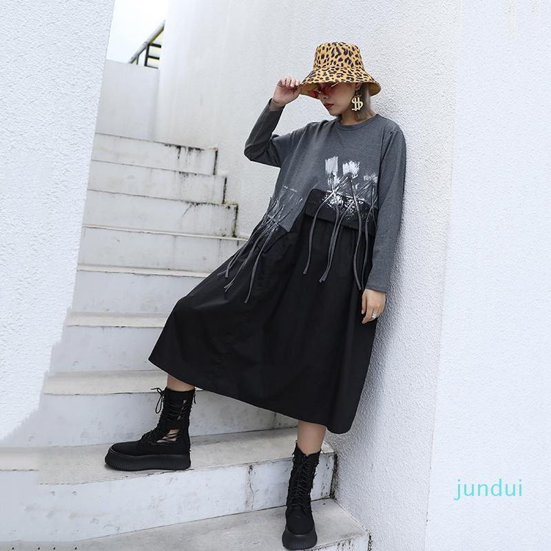 Hot Sale [EAM] Mulheres borlas assimétrica contraste cor do vestido New Rodada Long Neck luva frouxo Fit Moda Primavera Outono