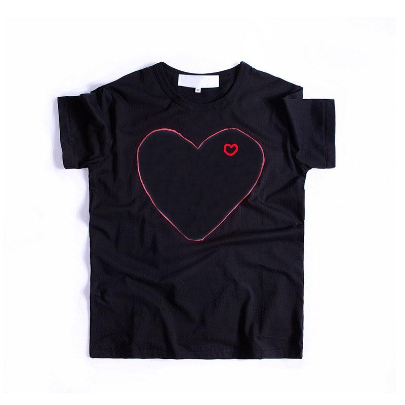 Erkekler Hip-hop Katı Renk Kısa Kollu Kadın Üst Tees S-XL için 20s Tişörtlü Erkek Moda Kırmızı Kalp Aşıklar Baskılı T Gömlek