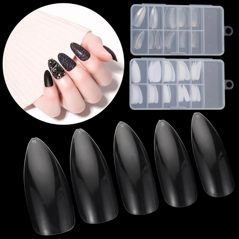 100 / 500Pcs Uzun Badem Yanlış Nail İpuçları UV Jel Akrilik Tam Kapak Sahte Çiviler DIY Stiletto Pointy Manikür Güzellik Araçları