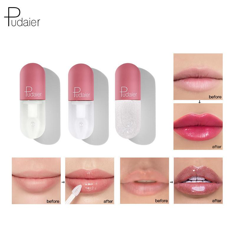 Pudaier 립 플럼 퍼 립글로스 Volumising 모이스춰 라이징 립 수리 광택 립 파인 라인 천연 메이크업 립스틱 6PCS 감소